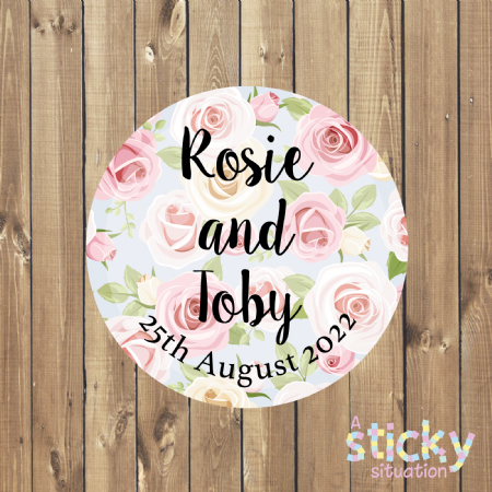 Personalised Wedding Stickers - Pale Pink and Blue Roses Design